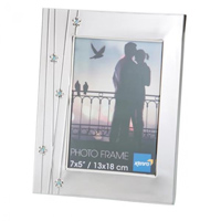 Silver Metal Photo Gift Frame with Luxury Black Velour Lined Back.  Choice of FOUR SIZES (4x6'', 5x7'',6x8'', 8x10'').  Comes in Gift Box. .  Bulk Order Discounts Available