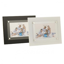 These modern and stylish metal photo frames have generous 42mm profiles.  Finished in either plain white or black finishes with ornamental studs on the front glass.  Frames are available in a choice of 6x4