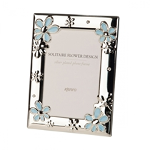 Silver Plated Frame with Blue Flower Design 6x4