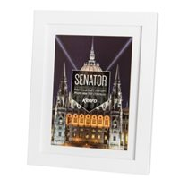 50x70cm Senator White Hand Crafted Wood Picture Frame with A2 Removable Mount. Matt Finish. Flat  Profile: 20mm wide x 30mm deep.