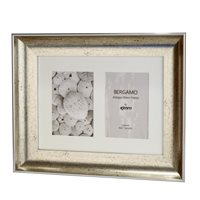 Bergamo Antique Silver Collage Picture Frame holds two 4x6