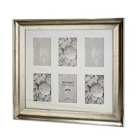 Bergamo Antique Silver Collage Picture Frame holds six 4x6