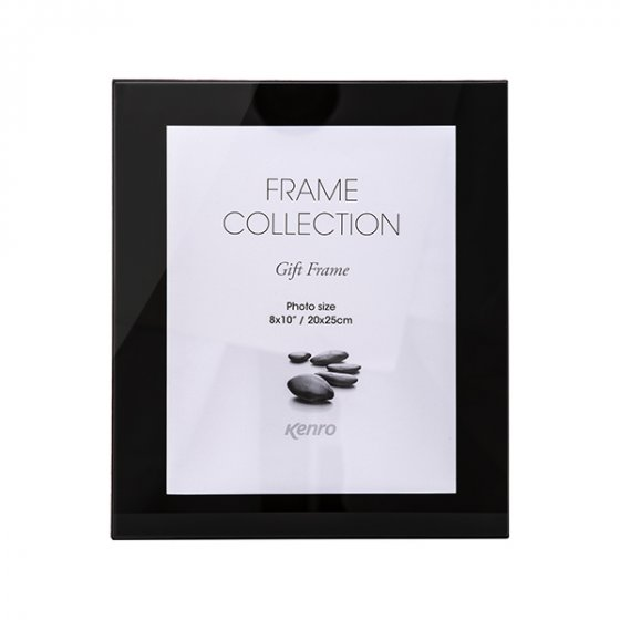 Kenro's Black Glass frames combine a luxurious feel with a generous black border, clean lines and black velour-lined backs.  Five sizes available. Presented in Luxurious Gift Box.