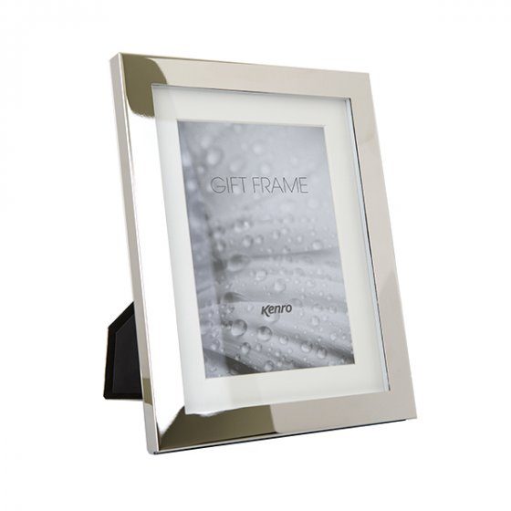 Kenro's Eden Delicate Luxury Polished silver frames, delicately finished with a recessed ivory mount. Luxury black velour backs.  Presented in Luxurious Gift Box.