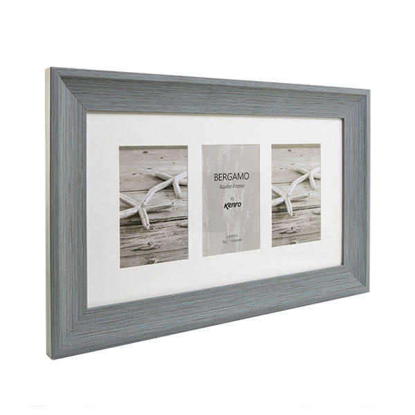 Kenro's Bergamo Rustic Grey hand Crafted Wood Triple Photo Frame. Distresed Finish. Flat Profile: 45mm Wide x 22mm Deep. Takes three  4x6