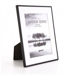 Kenro's Avenue  Black has 5mm wide profiles and removable white mounts which give a generous border and offer  two photo size options in each of its four frame sizes. Presented in Luxurious Gift Box