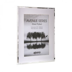Kenros Avenue Silver Series frames have tarnish-resistant, silver plated edges  with a white mat, giving a generous picture border.  Seven Sizes Available. Presented in Luxury Gift Box. .