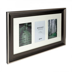 Kenro's Bergamo Charcoal hand Crafted Wood Frame. Distresed Finish. Flat Profile: 45mm Wide x 22mm Deep.  Takes three  4x6
