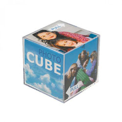These Acrylic Novelty Photo Cubes pull apart to be customised with six personal photos size 3.25x3.25