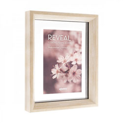 Kenro's Reveal Natural Wood Effect floating frame series is available with a generous glass border. Stain Finish. Flat Profile: 10mm wide x 37mm deep. Two sizes available