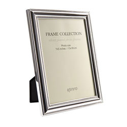 Symphony Retro Frame. Silver plated, tarnish resistant frames with lightly curved 17mm wide decorated profiles. Presented in Luxury Gift Box