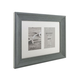 Kenro's Bergamo Rustic Grey hand Crafted Wood Twin Photo Frame. Distresed Finish. Flat Profile: 45mm Wide x 22mm Deep. Takes twu 4x6