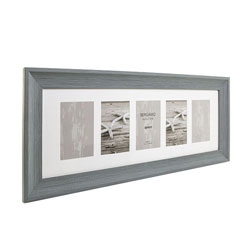 Kenro's Bergamo Rustic Grey hand Crafted Wood FIVE Photo Frame. Distresed Finish. Flat Profile: 45mm Wide x 22mm Deep. Takes five 4x6/10x15cm