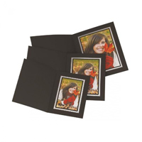 Black Photo Folder with Silver Gilding.  Upright/Portrait