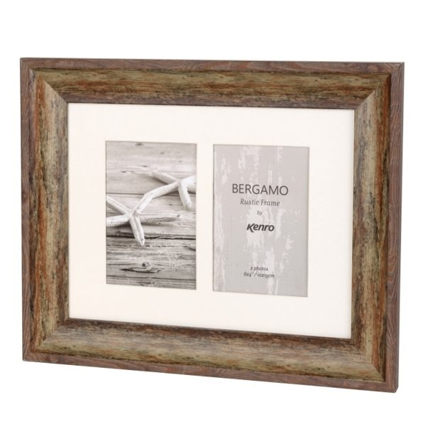 Bergamo Rustic Brown Collage Picture Frame holds two 4x6