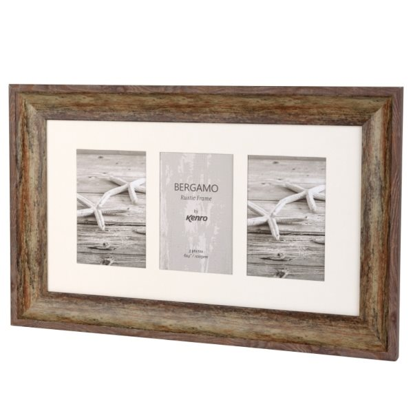 Bergamo Rustic Brown Collage Picture Frame holds three 4x6