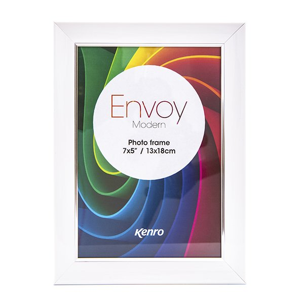 A3 Envoy Modern White Resin Frame. Gloss Finish. Curved Concave Profile with a Slender Silver Border: 30mm x 22mm