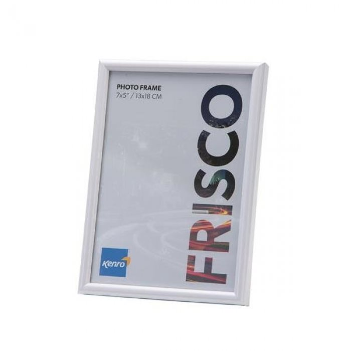 6x9''/15x23cm Frisco White Resin Picture Frame with Gloss Finish. Rounded Profile: 10mm wide x 16mm deep.