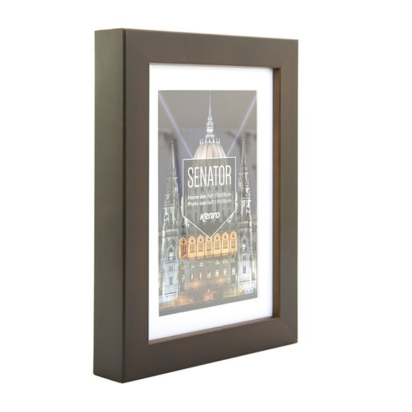 A2 Senator Brown Hand Crafted Picture Frame with A3 removable mount. Matt Finish. Flat Profile: 20mm Wide x 30mm Deep.