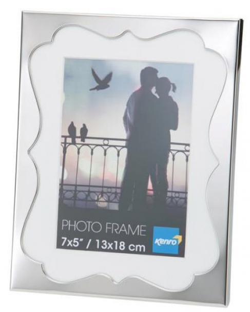 Silver Metal Photo frame with a curved design and a white photo mat.  Comes in Gift Box. .  Bulk Order Discounts Available