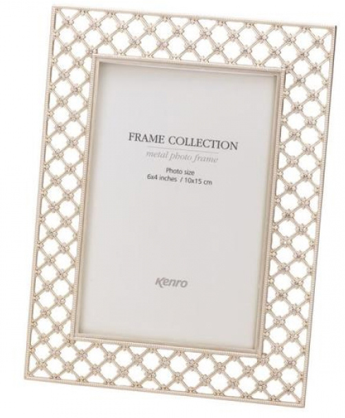 Elegant Crystals frame  in zinc alloy with a matt silver finish. Delicate fine lattice work decorated with clear crystals. Gift Box .  Bulk Order Discounts Available