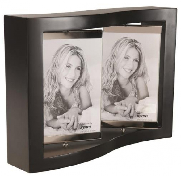 Elegantly curved frame which is supplied in Black Wood with a rotating frame in glass and steel, for  4 photos 6x4?/10x15cm.  Gift Box Supplied .  Bulk Order Discounts Available