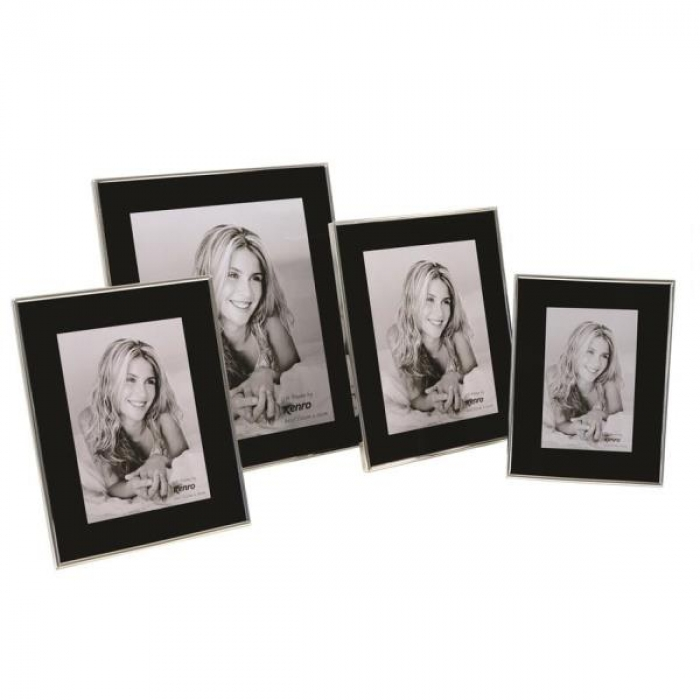 Stylish black glass frames with a generous border and 5mm polished silver surround. Luxury black velour lined backs. Individually gift boxed .  Bulk Order Discounts Available