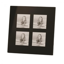 Black Glass Frame For Four 3x3'' / 9x9cm Photos. Stylish and Modern.  Generous Black border. Comes in Gift Box.  - BG0707/4 .  Bulk Order Discounts Available