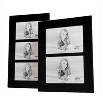 Black Glass Triple Photo Frame in two sizes: For 4x6