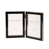 Twin Classic style Black metal frames with a tarnish resistant silver plated border, finished with black inlays. Choice of TWO SIZES (2x4x6'', 2x5x7'').  Comes in Gift Box. - WSC1015B/2 .  Bulk Order Discounts Available
