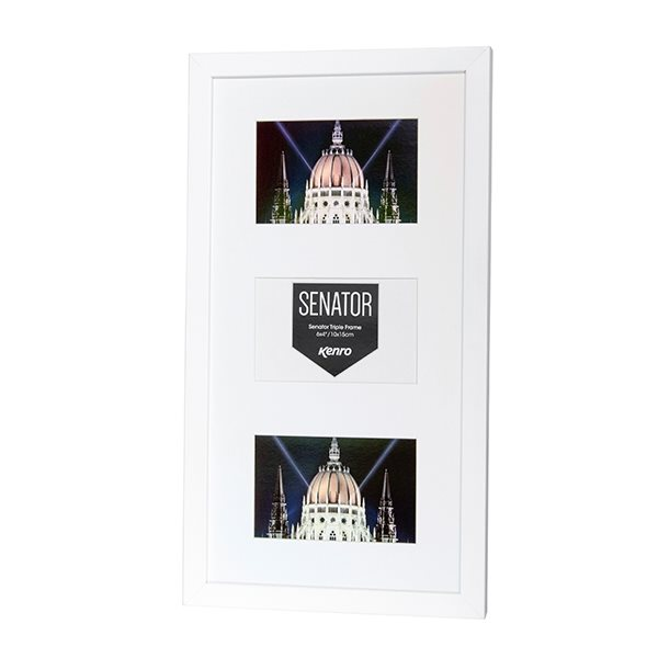 Senator White Hand Crafted Wood Picture Frame with mat for 3 photos 4x6