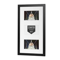 Senator Professional Black Hand Crafted Wood Picture Frame with mat for 3 photos 5x7