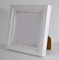 Brushed White Resin Shadow Box Frame with Mount.  Available  at Trade Prices in Pack Sizes from 8 to 20. From 4.2 + Vat Per Frame.  27 Sizes Available from 4x6'' to A2.  Moulding: 20mm Wide x 32mm Deep with 19mm Gap Between Back of Glass and Back of Frame
