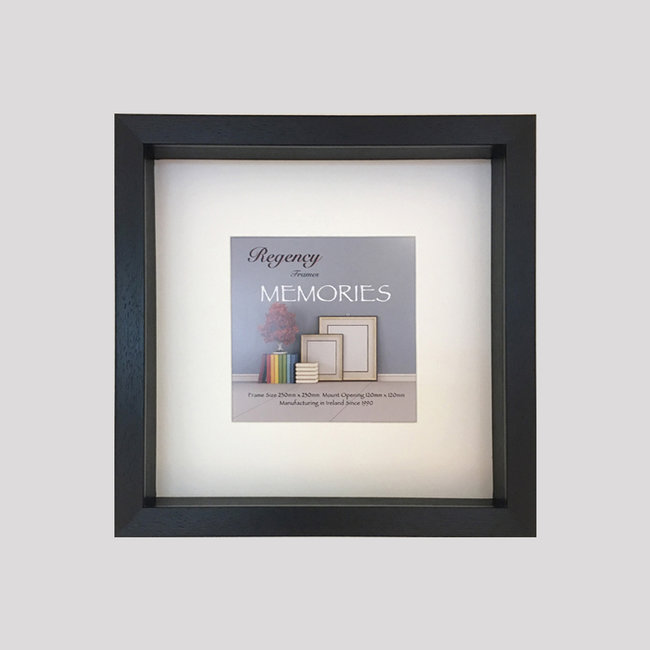 Box of 4 Grey  Shadow Box Frames. 25mm Slip/Display Depth . Removable Off-White Mount. 20mm wide x 40mm Deep.