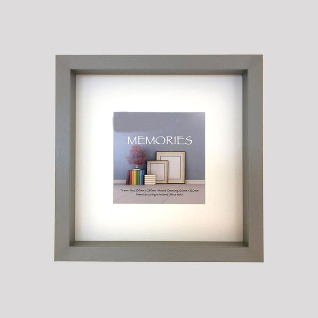 Box of 4 Grey  Shadow Box Frames. 25mm Slip/Display Depth . Removable Off-White Mount. 20mm wide x 40mm Deep
