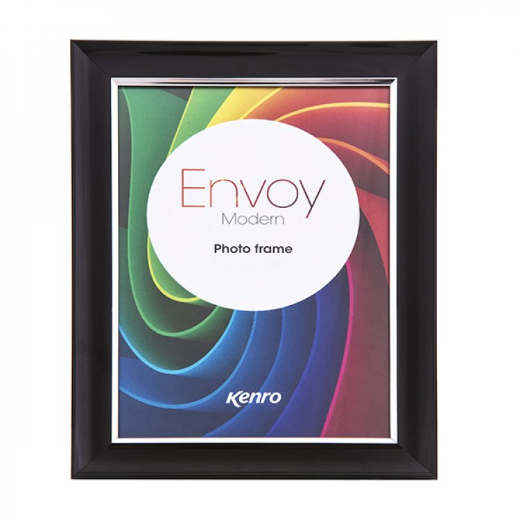 Kenro's Envoy Modern Black Resin Frame. Gloss Finish. Curved Concave Profile with a Slender Silver Border: 30mm x 22mm.  Available in 8 Sizes(A4,A3,4x6