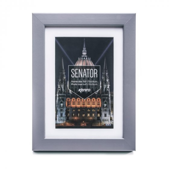Kenro's Senator Professional Grey Hand Crafted Wood Picture Frame with Removable Mount. Matt Finish. Flat  Profile: 20mm wide x 30mm deep. Available in 15 sizes
