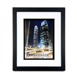 Kenro's Ambassador Black Hand Crafted Wood Picture Frame in solid Rubberwood. Matt Finish. Flat  Profile: 20mm wide x 20mm deep. Available in 10 sizes