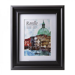 Kenro's Ravello Luxurious Black Hand Crafted Wood Picture Frame with  Removable White Mount. Matt Finish. Gallery Style Profile: 45mm wide x18mm deep. Available in 7 sizes