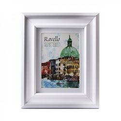 Kenro's Ravello Luxurious White Hand Crafted Wood Picture Frame with  Removable White Mount. Matt Finish. Gallery Style Profile: 45mm wide x18mm deep. Available in 7 sizes