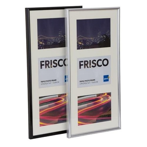 "Triple 5x7"" / 13x18cm Frisco Black Polymer Picture Frame with Gloss Finish.  White Bevelled Mount.  Rounded Profile: 12mm wide x 20mm deep. - FRC1318B-3 Online Bulk Order Discounts Starting at 6 Units"