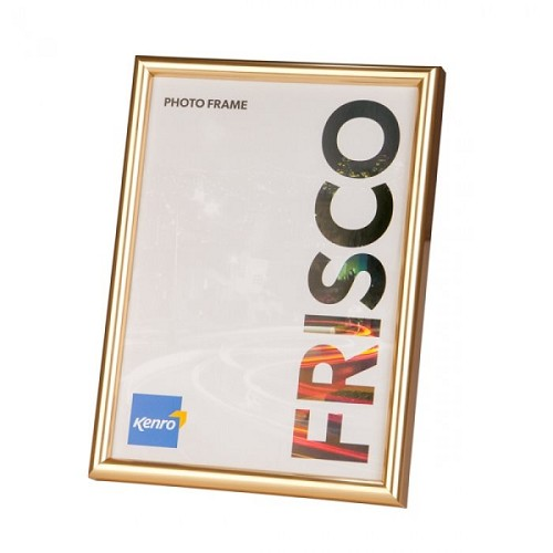 A4 / 21x29.7cm Frisco Gold Resin Picture Frame with Gloss Finish. Rounded Profile: 12mm wide x 20mm deep. Online Bulk Order Discounts Starting at 6 Units