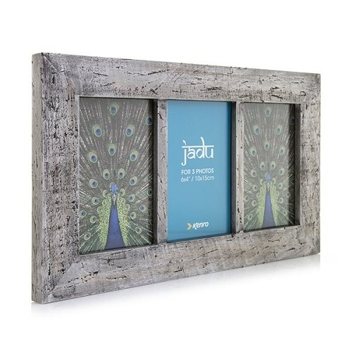 cf57ae37254f Jadu Hand Crafted Wood Picture Frame Triple 4x6
