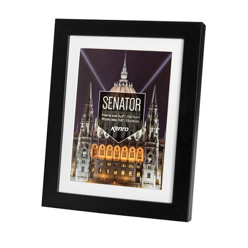 "10x12'' / 25x30cm Senator Black Hand Crafted Wood Picture Frame with 8x10"" / 20x25cm Removable Mount. Matt Finish. Flat  Profile: 20mm wide x 30mm deep."