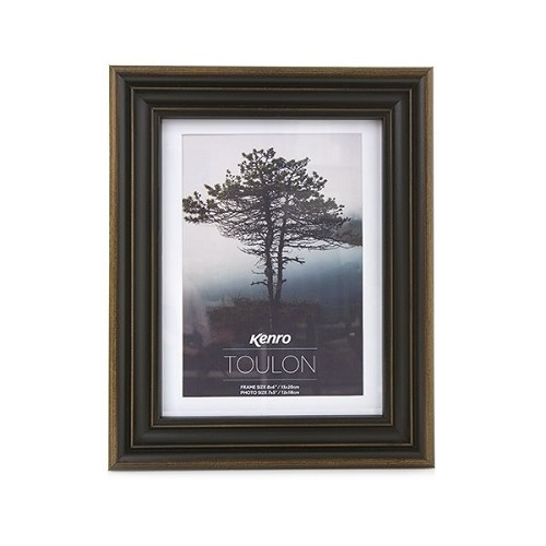 "5x7"" / 13x18cm Toulon Brown Hand Crafted Wood Picture Frame with mount for 4x6"" photo.  Wood Finish. Spoon Profile: 33m  x 30mm"